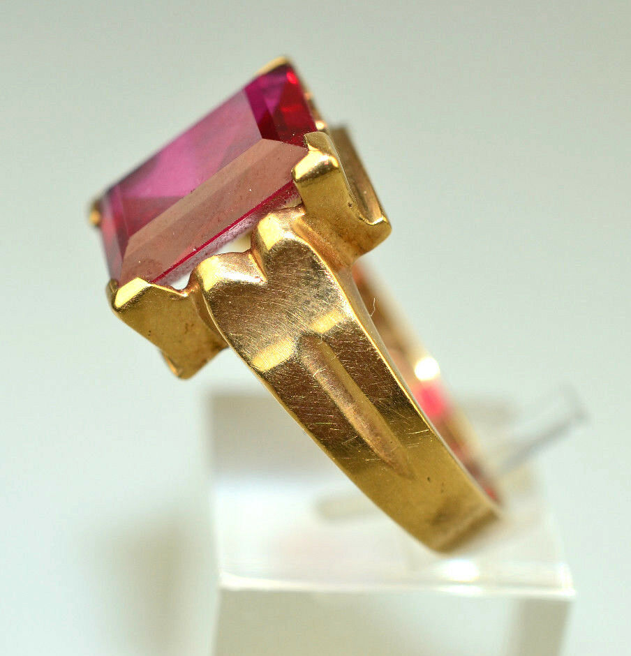 MEN'S 1930s ART DECO 10K YELLOW gold RING RECTANGULAR RED GLASS STONE SIZE 9.5