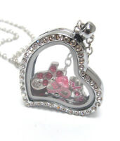 Origami-style Breast Cancer Pink Ribbon Floating Charm Heart Locket Necklace