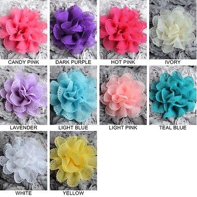 2 Chiffon Flowers Soft Fabric Rose Silk Flower Bridal Wedding Craft Supply