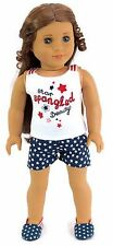 """Patriotic Red, White, & Blue Star Short Set fits 18"""" American Girl Doll Clothes"""