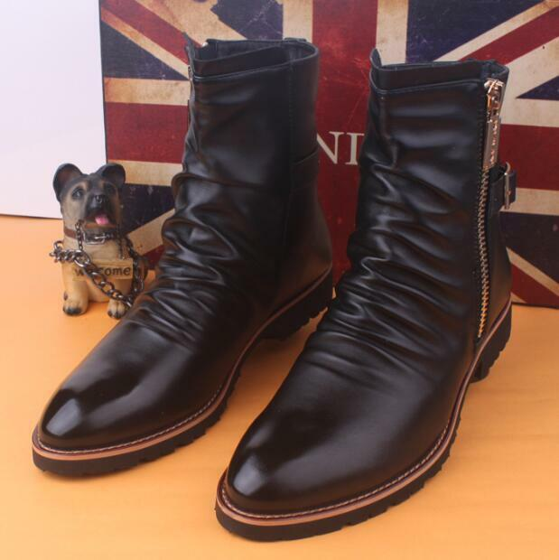 Mens British Side Zipper Pointed Toe Ankle Boots Leather Ridding Shoes Black T81