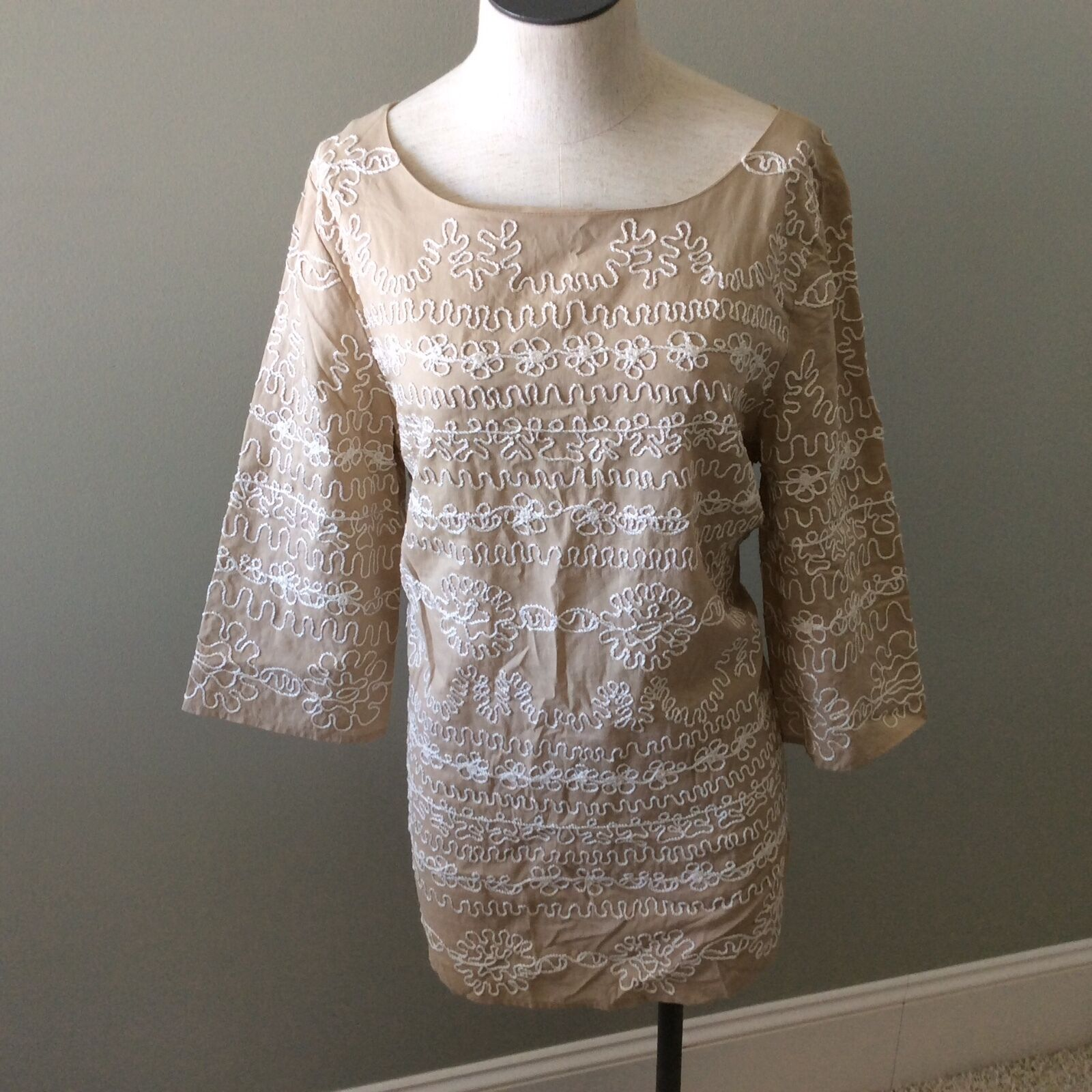 Lillly Pulitzer Tan Cream Tunic Top Blouse Rope Off Weiß Cotton M Medium New