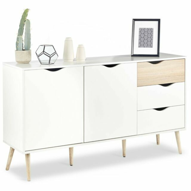 VonHaus Large Sideboard Scandinavian Nordic Style White and Light Oak Effect