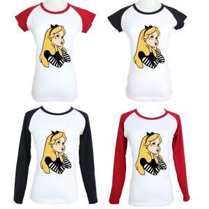 Women-039-s-Punk-Disney-Princess-Alice-In-Wonderland-Design-T-Shirt-Graphic-Tee-Tops