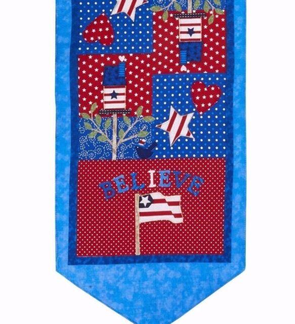 "Patriotic Americana Table Runner 13"" x 36"" USA Believe"