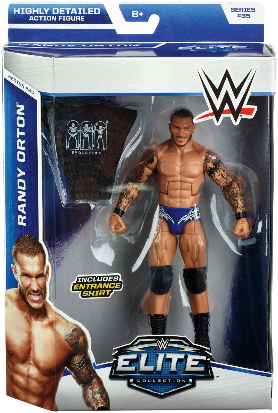 WWE RANDY ORTON FIGURE ELITE SERIES 35 WRESTLING EVOLUTION SHIRT RKO Blau SHORTS