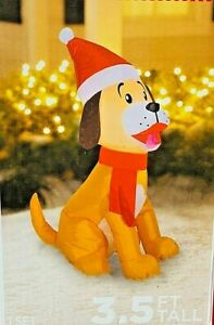 3.5 Feet Tall Holiday Time Darling Dog in Santa Hat and Red Scarf Inflatable Lights Up