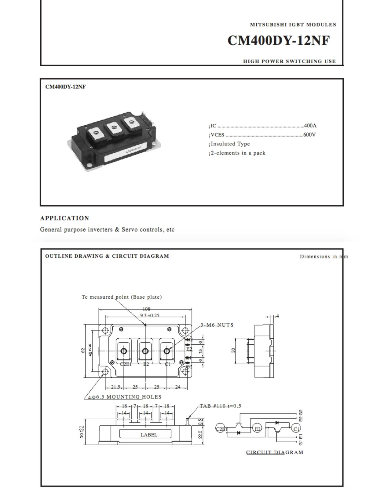 1PCS Fuente De Alimentación Módulo Mitsubishi CM400DY-12NF nuevo 100% 100% 100% garantía de calidad ed34a7