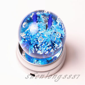 New-Round-Crystal-Glass-Paperweights-3-LED-White-Light-Stand-Base-Display-Silver