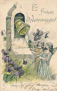 Praege-Karte-Ein-frohes-Weihnachtsfest-Engel-laeuten-Glocke-26-12-15