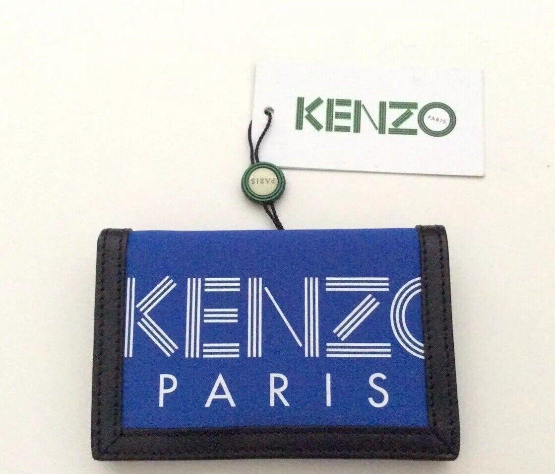 Kenzo Mens Blue Logo Gotcha Cardholder Wallet RRP Leather Nylon SALE