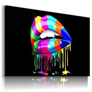 Acheter Pas Cher Coloré Lèvres Make Up Imprimé Toile Mural Art Abstrait Photo Ab450 Mataga.-afficher Le Titre D'origine