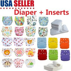 5-Pack-Diapers-Inserts-Adjustable-Reusable-Baby-Washable-Cloth-Pocket-Nappies-US