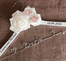 Personalised White Wedding Dress Coat Hanger Roses Any Colour Bride Bridesmaid❤
