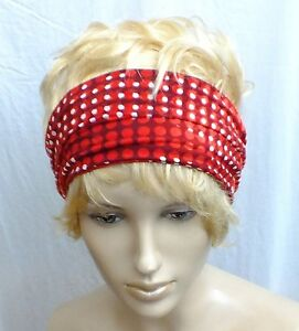 Image is loading SPOTS-RED-CUTE-JERSEY-HANDMADE-HOLIDAY-HAIR-WRAP- 7361d653b91