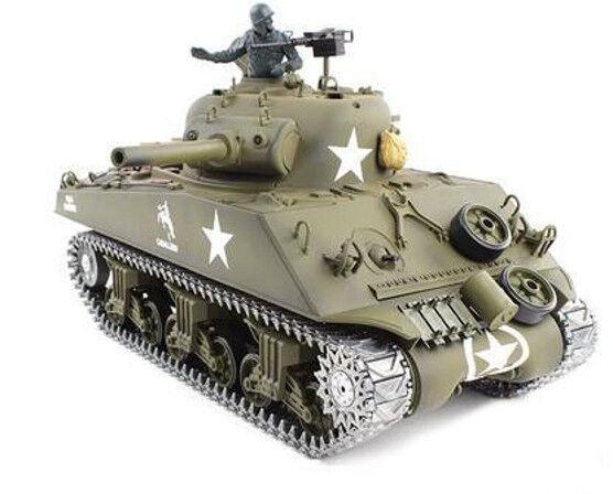 U.s.m4a3 sherman - panzer 16% r + s, schussfunktion metallgetriebe metallketten