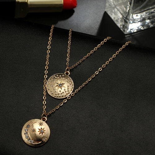 QA/_ Women Fashion Stars Moon Coin Pendant Double Layers Chain Necklace Jewelry