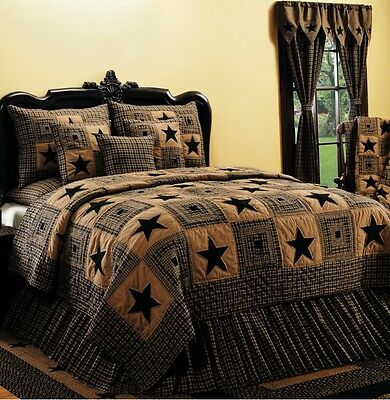 7PC JAMESTOWN STAR BURGUNDY QUEEN PATCHWORK QUILT SET BEDDING PACKAGE.