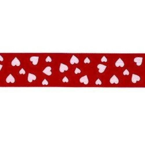 Berisfords Confetti Heart 25mm Satin Red Ribbon Valentine Wedding  2m to 20m