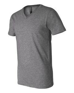 BELLA-CANVAS-Mens-Soft-Comfy-V-Neck-T-Shirt-Gray-S-M-L-XL-2XL