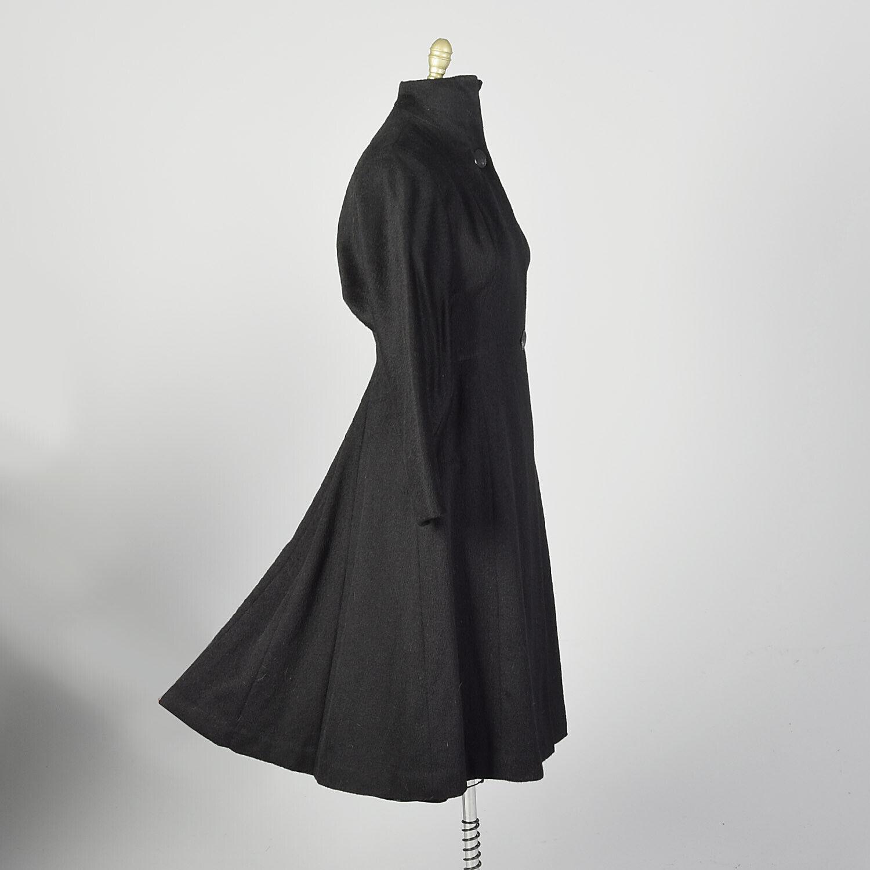 Large 1950s Princess Coat Black Wool Batwing Dolm… - image 3