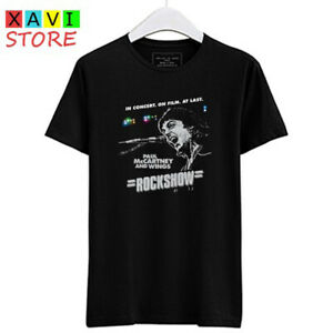 Paul-McCartney-and-Wings-Rockshow-Logo-Men-039-s-Black-Tees-T-Shirt-Size-S-3XL
