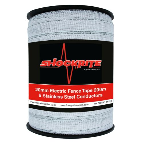 Electric Fence Tape 200m metre 20mm White Poly Fencing Horse Paddock