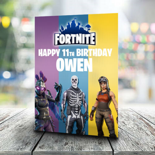 Personalised  With Any Name and Age Fortnite Birthday Card