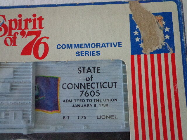 LIONEL O SCALE SPIRIT OF 76 SERIES STATE STATE STATE OF CONNECTICUT scatola auto 7605 58589a