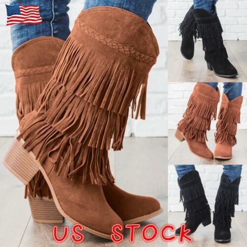 Women Faux Suede Mid Calf Boots Ladies Tassel Mid Block Heel Casual Cowboy Shoes