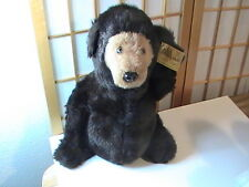 "Beautiful Vintage Large 16"" Black Hand Crafted Teddy Bear Falco 1977 NOS w/ tags"