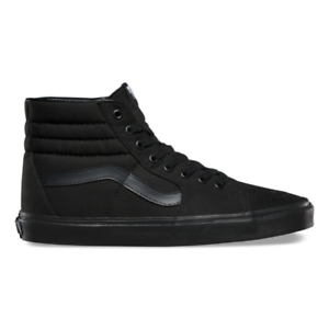 7560bac5947 Vans SK8 HI Mens Womens All Black Canvas Lace Up High Top Skateboard ...