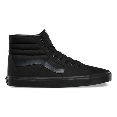 Vans SK8 HI Mens Womens All Black Canvas Lace Up High Top Skateboard Shoes