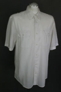 ARMANI-JEANS-Mens-White-Cotton-amp-Linen-Blend-Short-Sleeved-SHIRT-Size-Large-L