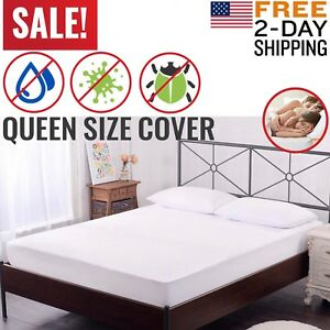 Mattress-Cover-Protector-Waterproof-Pad-Queen-Size-Bed-Hypoallergenic-Vinyl-Free