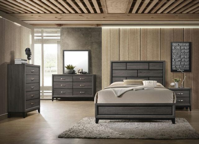 5pc Queen Size Bed Nightstand Dresser Beveled Shaped Mirror Post Bedroom Set For Sale Online Ebay