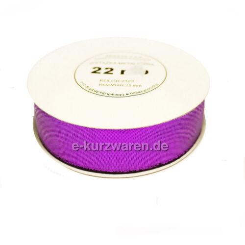 22m Metallisiertes Band 6//12//25//38mm 0,27€//m Dekoband breite Band Hochzeitskarte