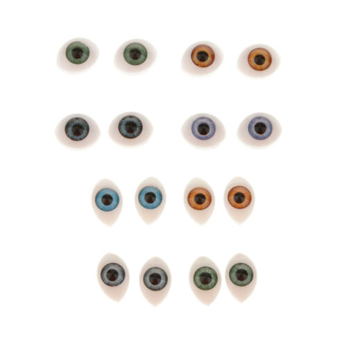16pcs Oval Flat Realistic Plastic Eyes for Mask Doll Making Supplies 5mm 6mm