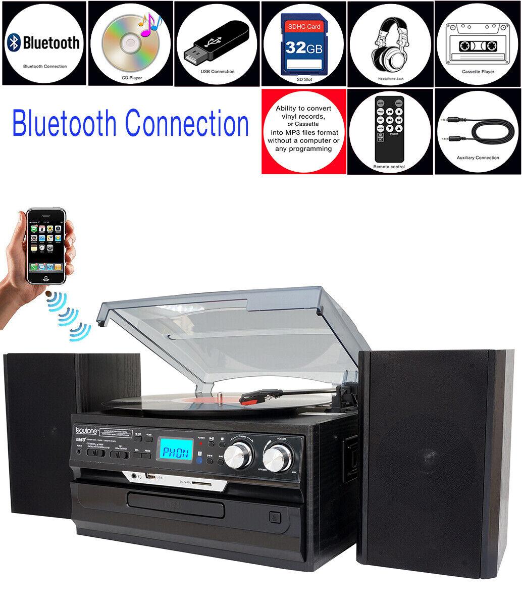 Jensen JMC1250 Bluetooth 3-Speed Stereo Turntable /&3 CD Changer w//Dual cassaette