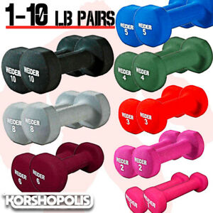 Neoprene-Dumbbell-PAIRS-Home-Gym-Exercise-Hand-Weights-Comfort-Grip-Fitness-NEW