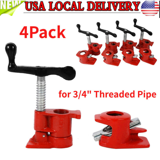 4PCS 3//4inch Wood Gluing Pipe Clamp Set Cast Iron Woodworking Carpenter Tool