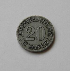 Empire: 20 Pfennig 1887 A, J. 6, Belle/très Belle, Ii.-afficher Le Titre D'origine Handicap Structurel