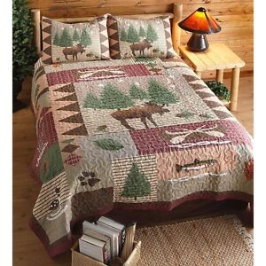 Moose Lake Snow Leaf Pine Tree Fish Rustic Lodge Cabin Woodland Bed Quilt Set Ebay