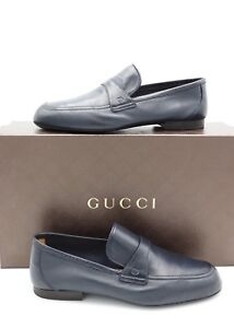 4636f1c31e4 NIB Gucci Mens Unlined Navy Blue Leather Slip-on Loafers Shoes 7 US ...