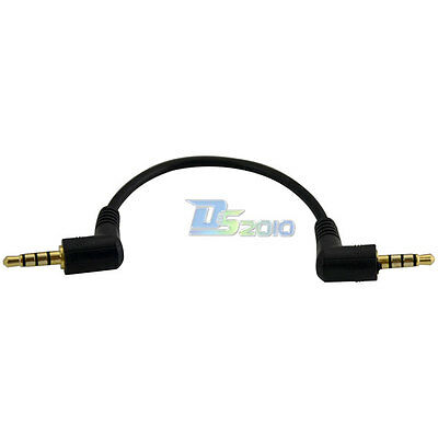 15cm DC 3.5mm TRRS 4 Pole 90° Male to Angled 3ring Male M/M Audio Adapter Cable