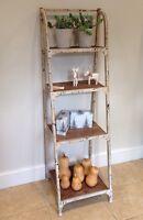 4 Tier Metal Frame Bookshelf - artisan urban vintage industrial Antique White