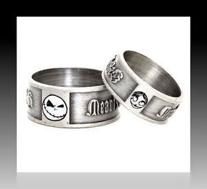 Nightmare Before Xmas Jack Sally Engagement Ring Set W Bead Shot