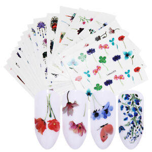 LEMOOC-20Pcs-Wasser-Decals-Nagel-Kunst-Colorful-Flowers-Nail-Transfer-Aufkleber