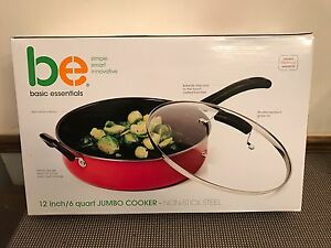 Basic-Essentials-12-034-6-Quart-Non-Stick-Jumbo-Cooker-Red-New-in-Box