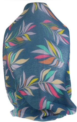 Womens Leaves Print Scarf Multicolour Autumn Leaf Ladies Neck Shawl Head Wrap